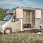 Metalic horsebox with open side